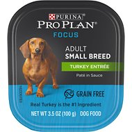 Purina Pro Plan Focus Small Breed Turkey Entree Grain-Free Wet Dog Food, 3.5-oz tray, case of 12