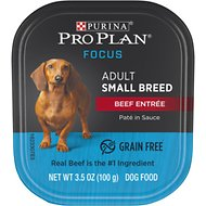 Purina Pro Plan Focus Small Breed Beef Entree Grain-Free Wet Dog Food, 3.5-oz tray, case of 12