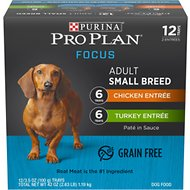 Purina Pro Plan Focus Small Breed Variety Pack Entree Grain-Free Wet Dog Food, 3.5-oz tray, case of 12