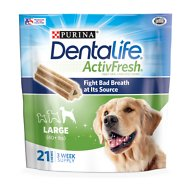 DentaLife ActivFresh Daily Oral Care Large Dental Dog Treats, 21 count