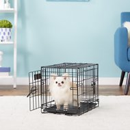 MidWest iCrate Double Door Fold & Carry Dog Crate, Black, 18-in