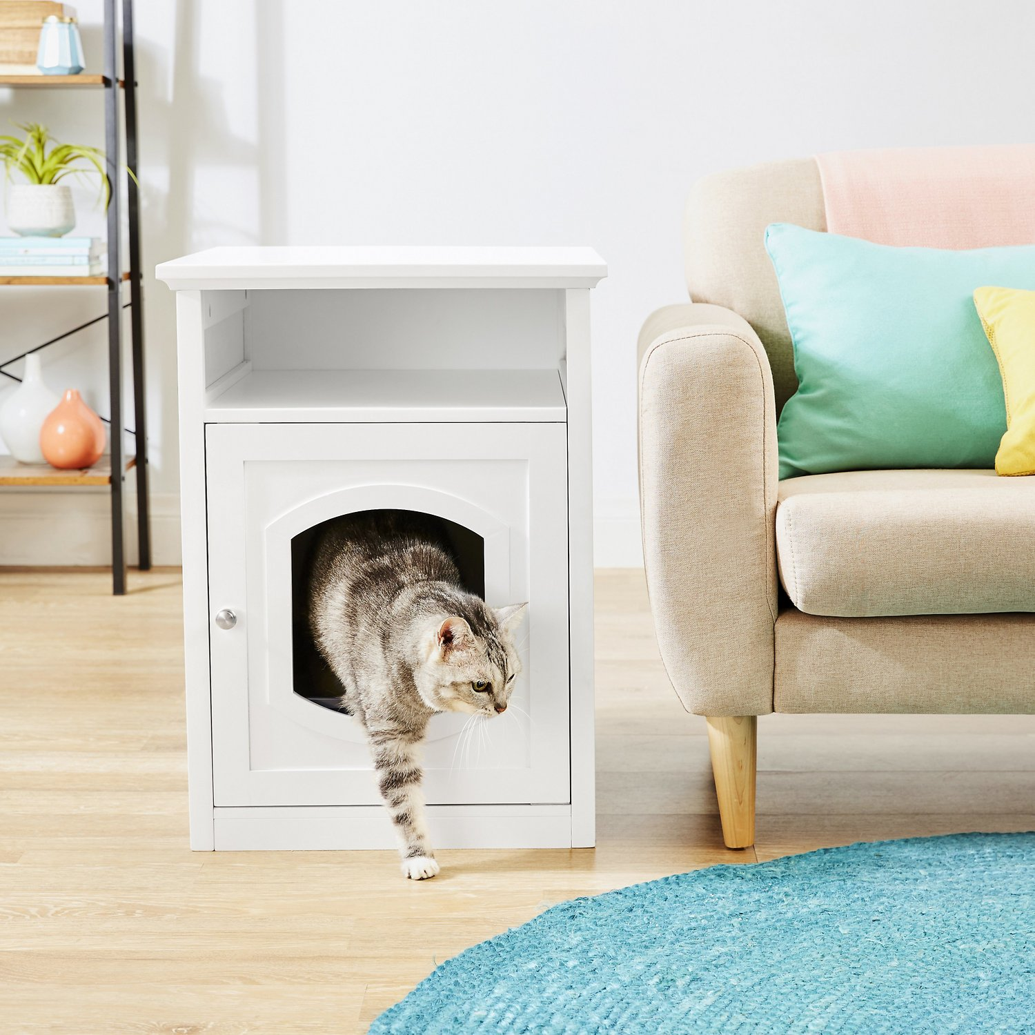 Frisco Decorative Side Table Cat Litter Box Cover White Chewy Com