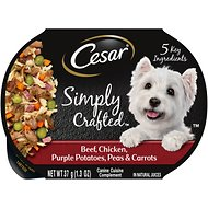 Cesar Simply Crafted Beef, Chicken, Purple Potatoes, Peas & Carrots Wet Dog Food Topper, 1.3-oz, case of 10