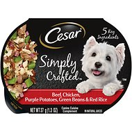 Cesar Simply Crafted Beef, Chicken, Purple Potatoes, Green Beans & Red Rice Wet Dog Food Topper, 1.3-oz, case of 10