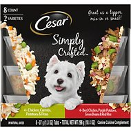 Cesar Simply Crafted Variety Pack Chicken, Carrots, Potatoes & Peas, and Beef, Chicken, Purple Potatoes, Green Beans & Red Rice Wet Dog Food Topper, 1.3-oz, pack of 8