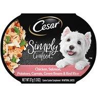 Cesar Simply Crafted Chicken, Salmon, Potatoes, Carrots, Green Beans & Red Rice Wet Dog Food Topper, 1.3-oz, case of 10
