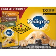 Pedigree Choice Cuts in Gravy Variety Pack, Hickory Smoked Chicken Flavor, Grilled Chicken Flavor in Sauce & Filet Mignon Flavor in Gravy Wet Dog Food Pouches,  3.5-oz, pack of 18