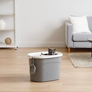 IRIS Top Entry Cat Litter Box & Scoop, Gray/White