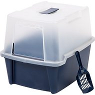 IRIS Large Hooded Litter Box with Scoop and Grate, Blue, Blue, Large