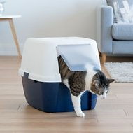 IRIS Jumbo Hooded Cat Litter Box with Scoop, Navy