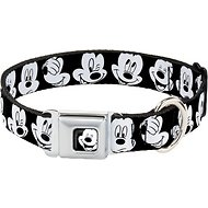 Buckle-Down Mickey Mouse Expressions Seatbelt Buckle Dog Collar, Wide Large