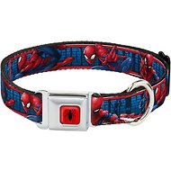 Buckle-Down Spider-Man Action Poses Seatbelt Buckle Dog Collar, Wide Large