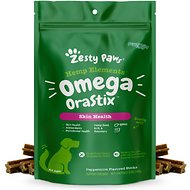 Zesty Paws Omega 3 with Hemp, Bone Broth + Salmon & Krill Oil for Skin & Coat Dental Stick Dog Treats