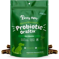 Zesty Paws Probiotic with Hemp + Bone Broth & Ginger for Digestive Health, Dental Stick Dog Treats, 12-oz bag