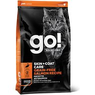 Go! Solutions Skin + Coat Care Grain-Free Salmon Recipe Dry Cat Food, 3-lb bag
