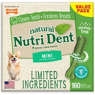 Nylabone Nutri Dent Limited Ingredients Fresh Breath Natural Dental Dog Chew Treats, Mini, 160 count