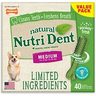 Nylabone Nutri Dent Limited Ingredients Fresh Breath Natural Dental Dog Chew Treats, Medium, 40 count
