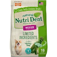 Nylabone Nutri Dent Limited Ingredients Fresh Breath Natural Dental Dog Chew Treats, Medium, T-Rex 16 count
