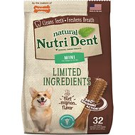 Nylabone Nutri Dent Limited Ingredients Filet Mignon Natural Dental Dog Chew Treats, Mini, 32 count