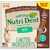 Nylabone Nutri Dent Limited Ingredients Filet Mignon Natural Dental Dog Chew Treats, Mini, 160 count