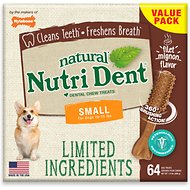 Nylabone Nutri Dent Limited Ingredients Filet Mignon Natural Dental Dog Chew Treats, Small, 64 count