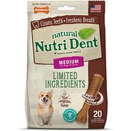 Nylabone Nutri Dent Limited Ingredients Filet Mignon Natural Dental Dog Chew Treats, Medium, 20 count