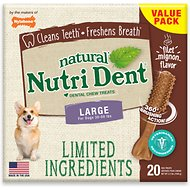 Nylabone Nutri Dent Limited Ingredients Filet Mignon Natural Dental Dog Chew Treats, Large, 20 count