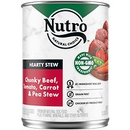 Nutro Hearty Stew Adult Chunky Beef, Tomato, Carrot & Pea Canned Dog Food, 12.5-oz, case of 12