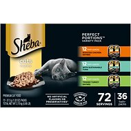 Sheba Perfect Portions Grain-Free Multipack Roasted Chicken, Tuna & Turkey Entree Cat Food Trays, 2.6-oz, case of 36 twin-packs