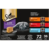 Sheba Perfect Portions Grain-Free Multipack Savory Chicken, Beef, Whitefish & Tuna Entree Cat Food Trays, 2.6-oz, case of 36 twin-packs