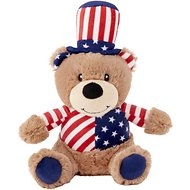 Frisco Plush Squeaking American Flag Bear Dog Toy