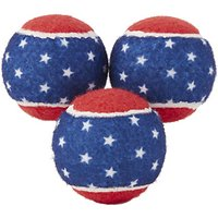 Deals on Frisco Fetch Squeaking American Flag Tennis Ball Dog Toy, Medium, 3-pack