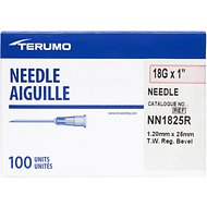 Terumo Hypodermic Thin Wall 18 Gauge Needles, 1 Inch, 100 count