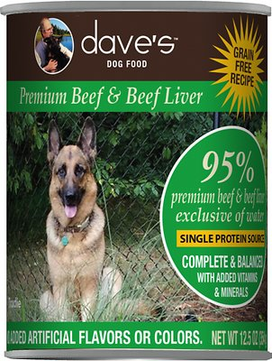 3. Dave's Pet Food 95% Premium Beef & Beef Liver Grain-Free Recipe Canned Dog Food