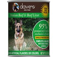 Dave's Pet Food 95% Premium Beef & Beef Liver Grain-Free Recipe Canned Dog Food, 13-oz, case of 12