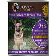Dave's Pet Food 95% Premium Turkey & Turkey Liver Grain-Free Recipe Canned Dog Food, 13-oz, case of 12