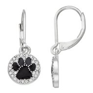 Pet Friends Paw Circle Drop Earrings, Silver Jet