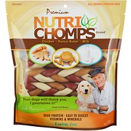 "Premium Nutri Chomps 6"" Mixed Flavor Braid Dog Treats, 10 count"