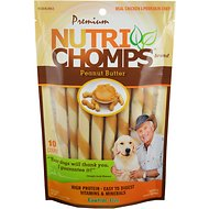 Premium Nutri Chomps Mini  Peanut Butter Flavor Twist Dog Treats, 10 count