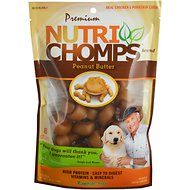 Premium Nutri Chomps Mini Peanut Butter Flavor Knots Dog Treats, 8 count