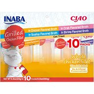 Inaba Ciao Grilled Chicken Fillet Variety Pack Grain-Free Cat Treat, 10 count