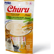 Inaba Churu Chicken & Chicken with Scallop Puree Variety Pack Grain-Free Lickable Cat Treat, 10 count
