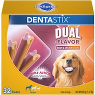 Pedigree Dentastix Large Dual Flavor Bacon & Chicken Flavors Dental Dog Treats, 32 count