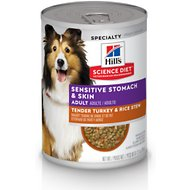 Hill's Science Diet Adult Sensitive Stomach & Skin Tender Turkey & Rice Stew Canned Dog Food, 12.5-oz, case of 12