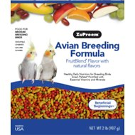 ZuPreem AvianBreeder FruitBlend with Natural Fruit Flavors Cockatiel Bird Food, 2-lb bag
