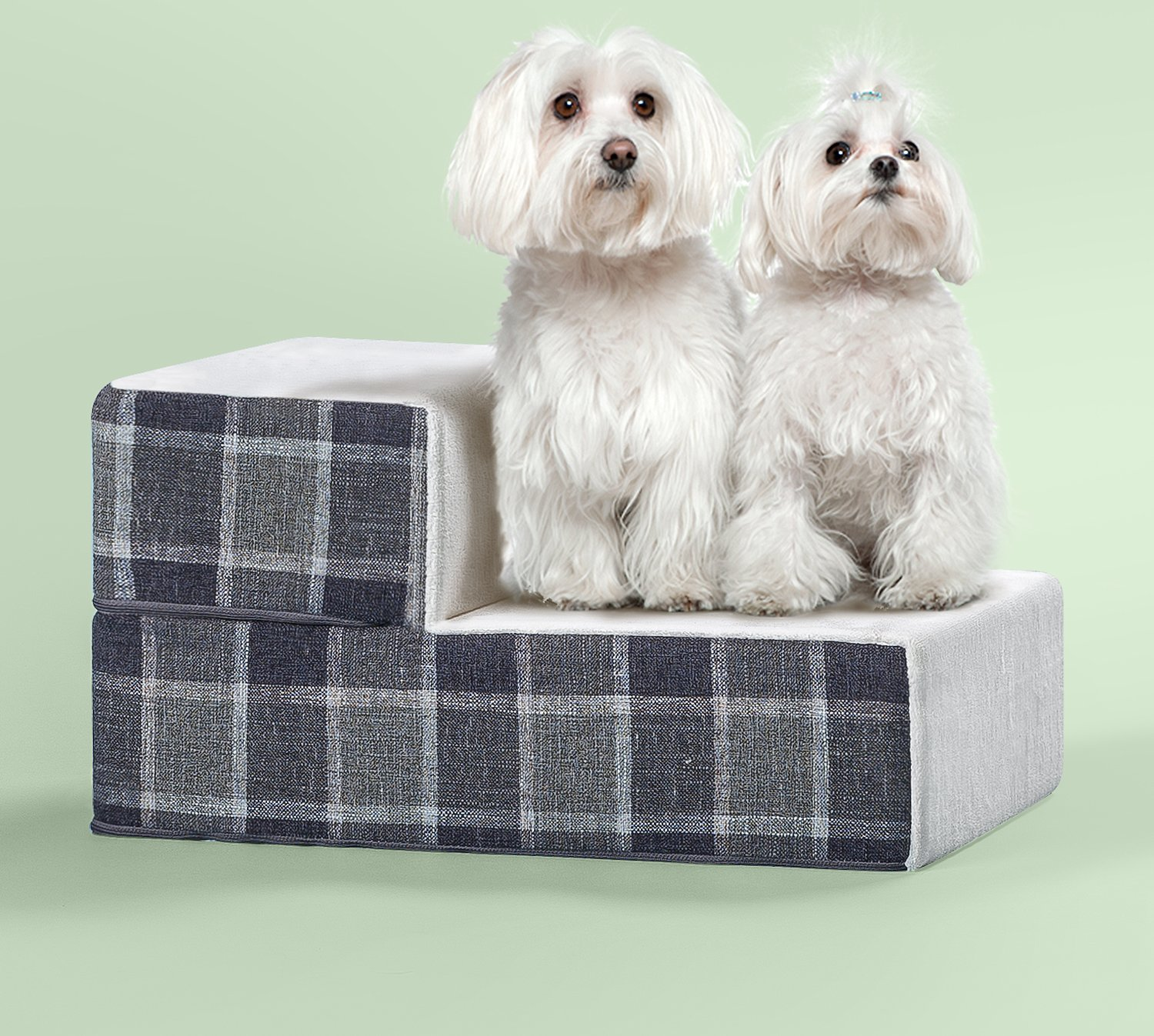 Zinus 2 Step Easy Pet Stair Grey Checkered X Small