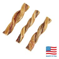 "USA Bones & Chews 6"" Twisted Bully Stick Dog Treat, 3 count"