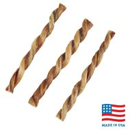 "USA Bones & Chews 12"" Twisted Bully Stick Dog Treat, 3 count"