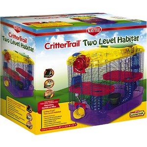 Kaytee CritterTrail Small Animal Habitat, 2-level; The Kaytee CritterTrail Small Animal Habitat is a two-level habitat that gives your small pet plenty of room to play, climb and roam. It features two stories of living space plus a removable petting zone where you can instantly interact with your pet. The CritterTrail Small Animal Habitat comes equipped with everything you need, including a food dish, water bottle and exercise wheel. This small animal home is ideal for mice, dwarf hamsters and gerbils.