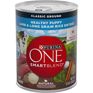 Purina ONE SmartBlend Classic Ground Healthy Puppy Lamb & Long Grain Rice Entree Canned Dog Food, 13-oz, case of 12